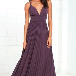 Dusty Purple Lulu's Pleated Maxi Bridesmaids Dress